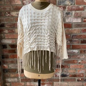 Kate & Mallory Fringe Sweater High Low Sz Large